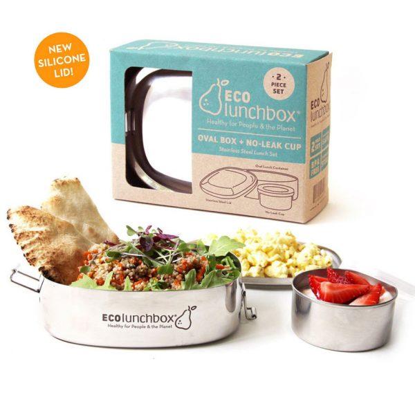 Set Eco Lunchbox Oval + Leakproof Snackbox